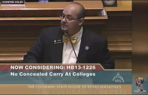 Rep. Joe Salazar's bow tie cuts off circulation to his brain during gun control debate.
