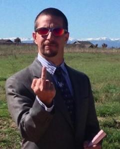 Cliff Willmeng, Boulder County fractivist, gives Colorado the middle finger