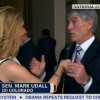 Udall refuses three times to answer CNN reporter Dana Bash's question about whether Obama will campaign with him.