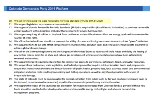 Dems Renewable Energy Standard