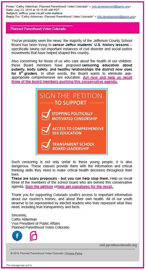 Planned Parenthood Petition