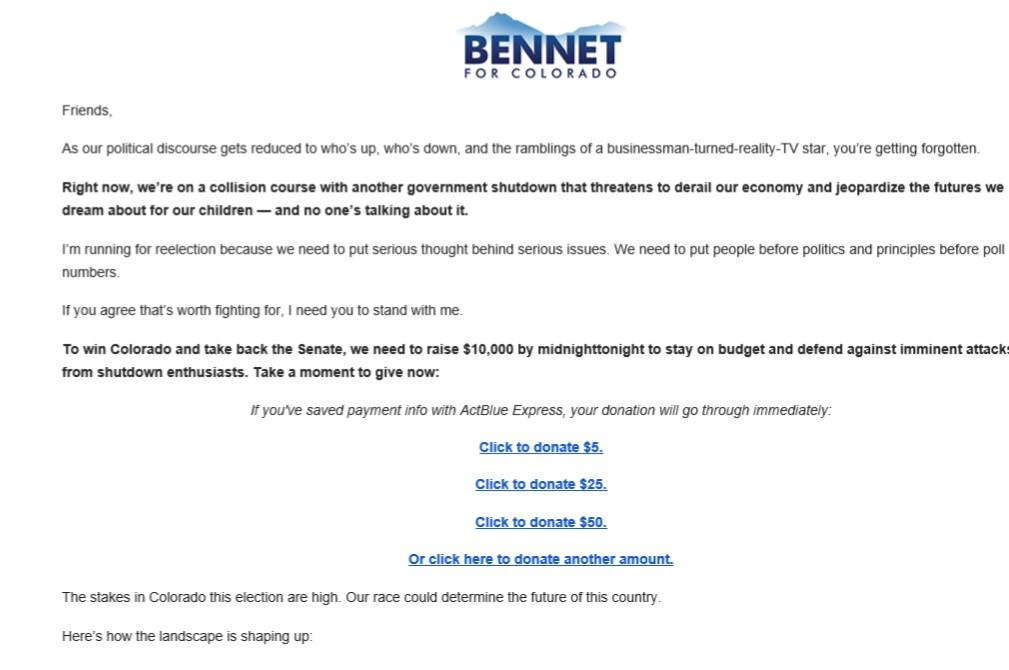 Bennet Fundraising Letter