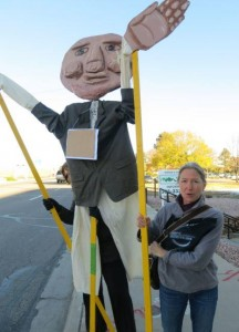 This is what global warming does to you. Just kidding, it's a lame puppet brought to a protest.