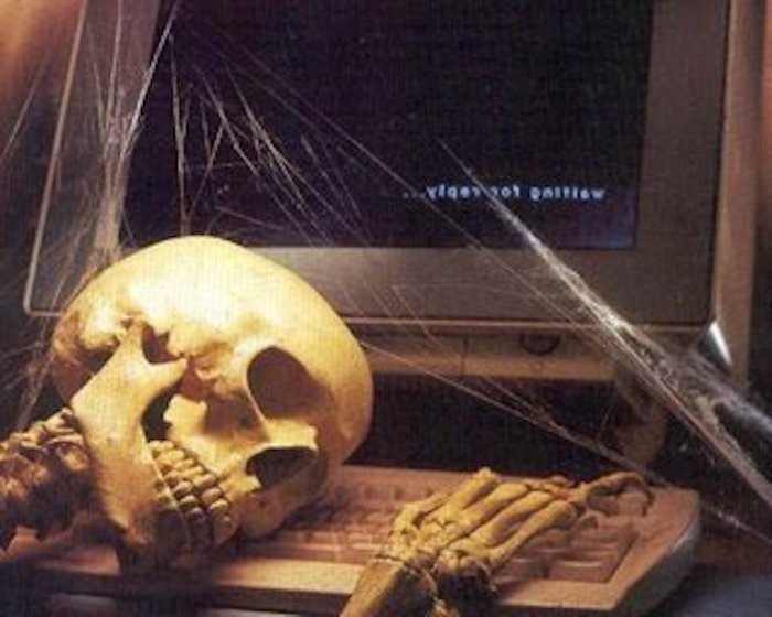 Image result for skeleton waiting by computer