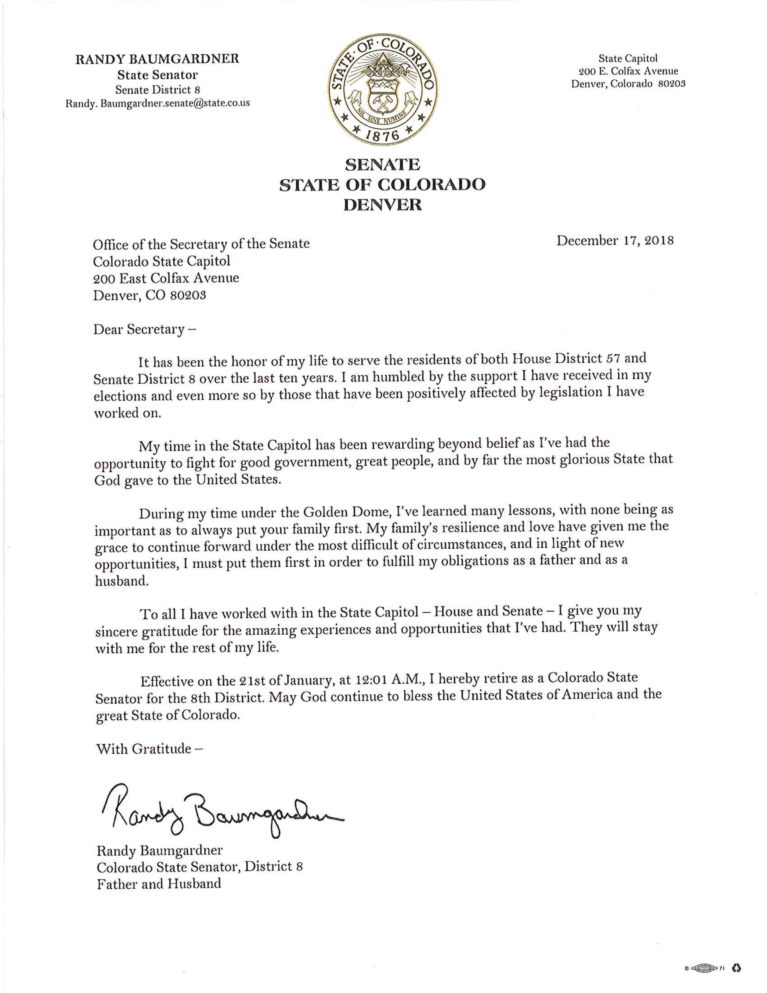 Colorado Peak Politics | Baumgardner Resignation Letter